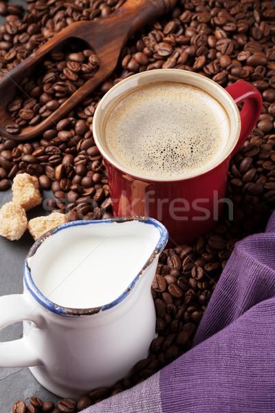Café leche azúcar moreno piedra mesa textura Foto stock © karandaev