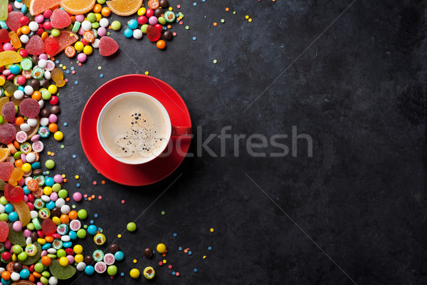 Candies, jelly and marmalade and coffee Stock photo © karandaev