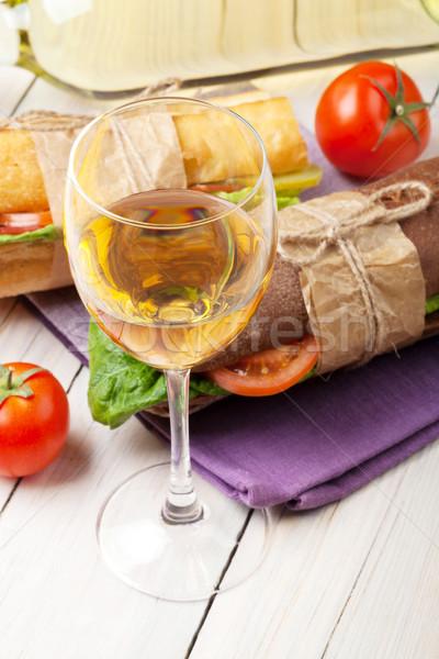 белое вино стекла Бутерброды деревянный стол древесины сыра Сток-фото © karandaev