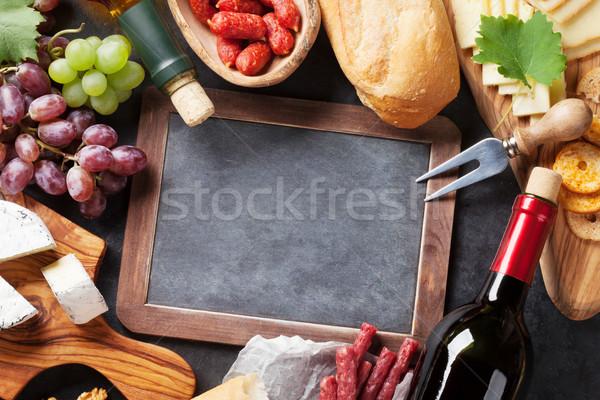 ストックフォト: ワイン · ブドウ · チーズ · ソーセージ · 赤 · 白ワイン