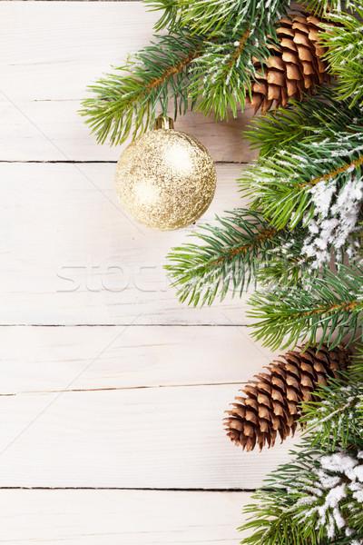 Weihnachten Kiefer Dekor Holz Kopie Raum abstrakten Stock foto © karandaev
