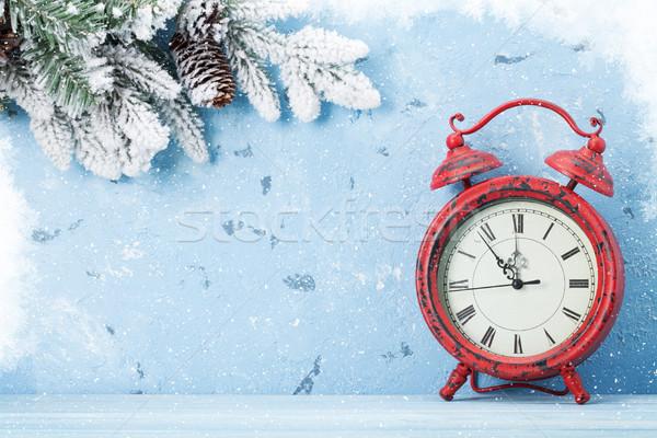 Christmas alarm clock and snow fir tree Stock photo © karandaev