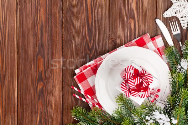 Stock fotó: Karácsony · asztal · fenyőfa · dekoráció · felső · kilátás