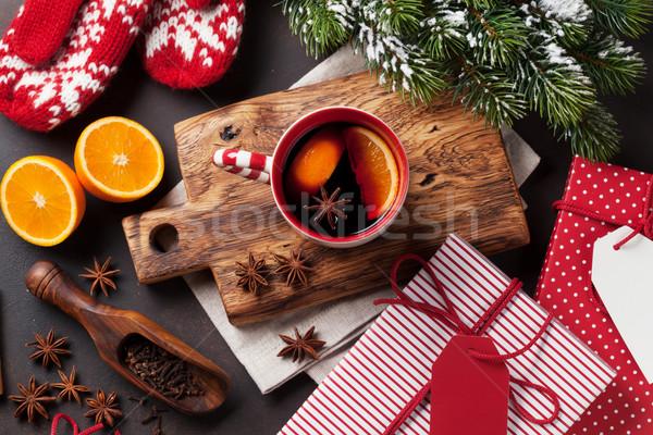 Navidad vino ingredientes superior vista espacio de la copia Foto stock © karandaev