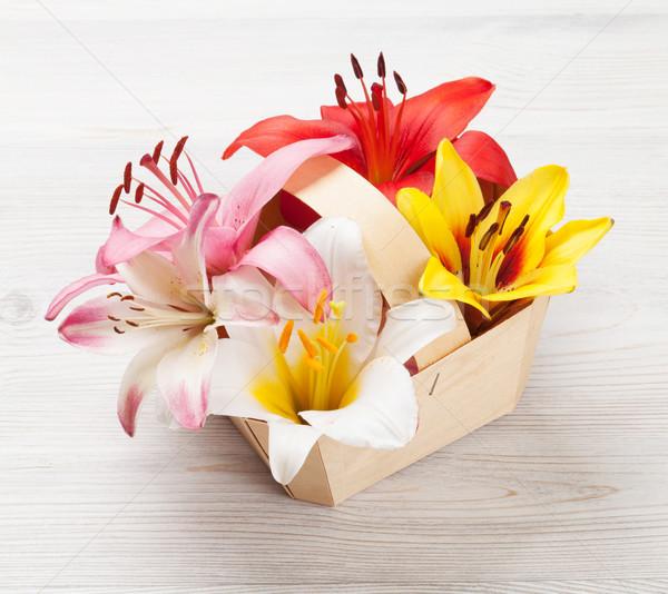 Photo stock: Coloré · Lily · fleurs · panier · bois · nature