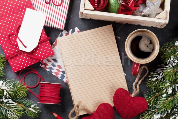 Stok fotoğraf: Notepad · Noel · mektup · hediye · kutusu · kar
