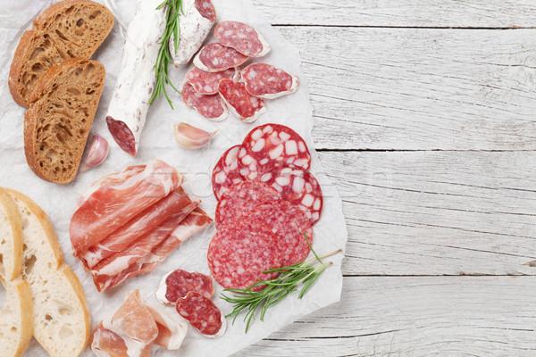 Salami, ham, sausage, prosciutto Stock photo © karandaev