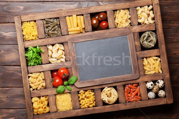 ストックフォト: パスタ · 木製 · ボックス · 料理 · 先頭