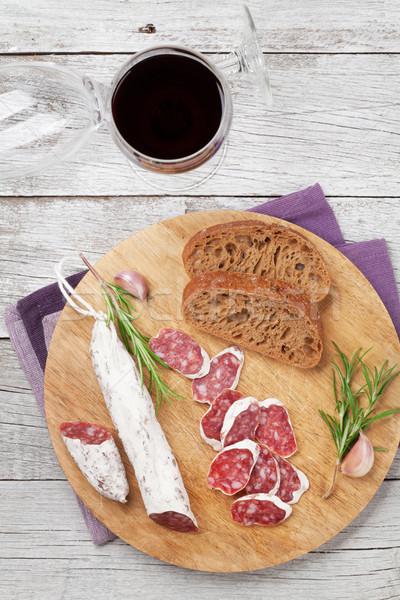 Сток-фото: салями · хлеб · вино · стекла · мяса