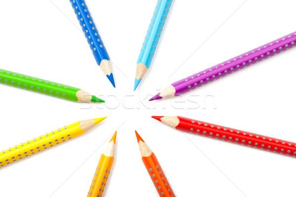 цвета карандашей работу образование радуга белый Сток-фото © karandaev