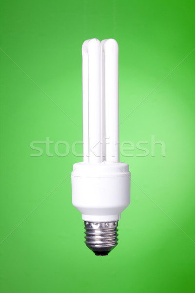 Energy saving lamp on green background Stock photo © karandaev