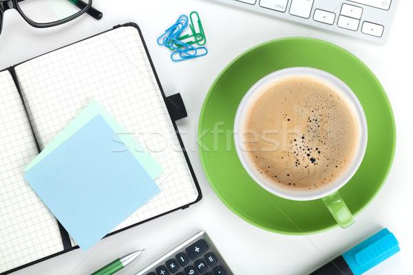 Stock fotó: Zöld · kávéscsésze · irodaszerek · felülnézet · közelkép · üzlet
