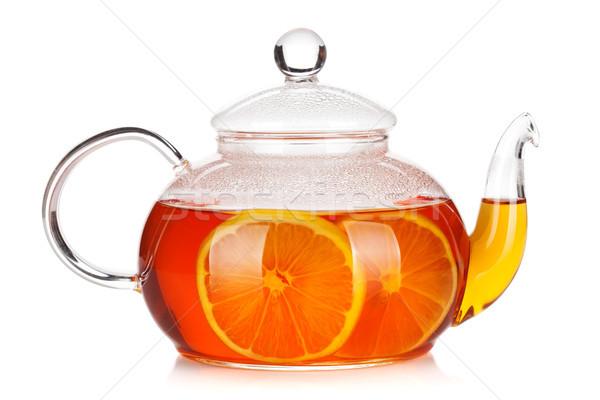Verre théière noir thé citron isolé Photo stock © karandaev