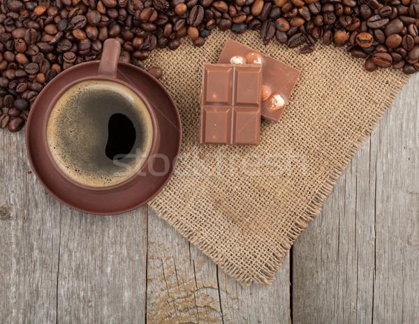 Taza de café chocolate mesa de madera textura espacio de la copia Foto stock © karandaev
