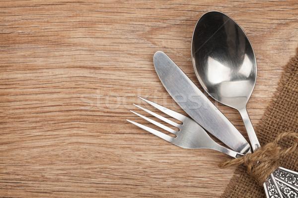 Silverware or flatware set of fork, spoon and knife Stock photo © karandaev