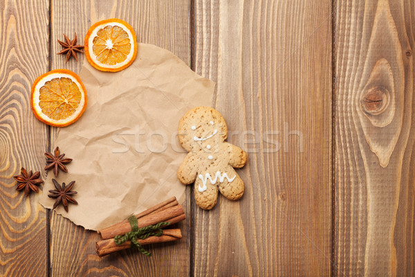 Christmas food decoration with gingerbread cookies, spices and c Stock photo © karandaev