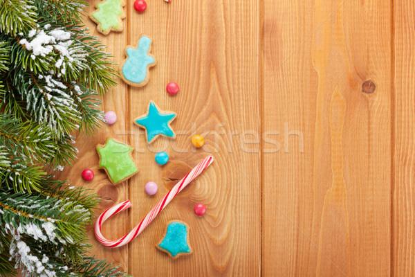 Stok fotoğraf: Noel · ahşap · kar · zencefilli · çörek · pişirmek