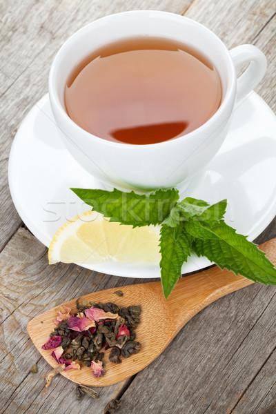 Zöld tea citrom menta fa asztal fa háttér Stock fotó © karandaev