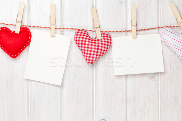Photo frames and valentines toy hearts Stock photo © karandaev