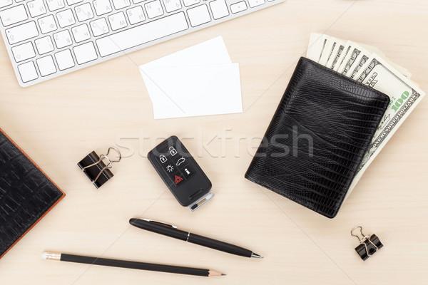Iroda asztal pc készlet névjegyek pénz Stock fotó © karandaev