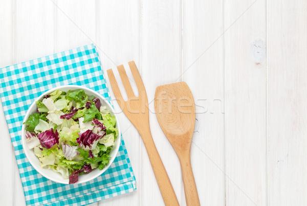 ストックフォト: 新鮮な · 健康 · サラダ · 白 · 木製のテーブル