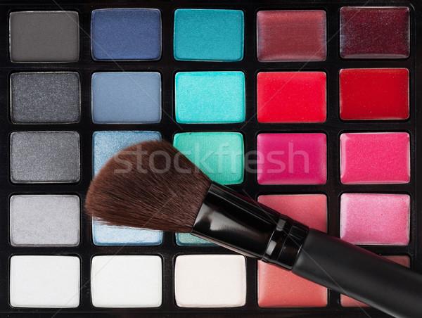 化粧 パレット プロ カラフル ブラシ 塗料 ストックフォト © karandaev