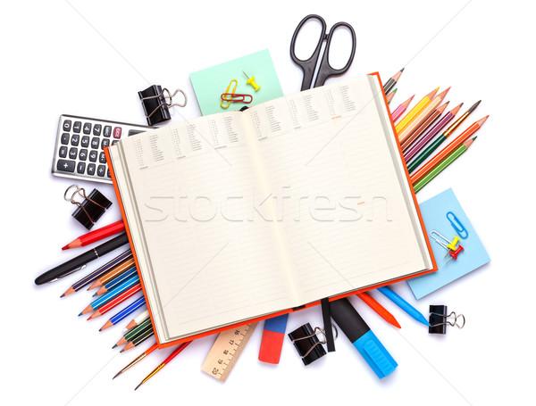Jegyzettömb iskola irodaszerek iroda asztal izolált Stock fotó © karandaev