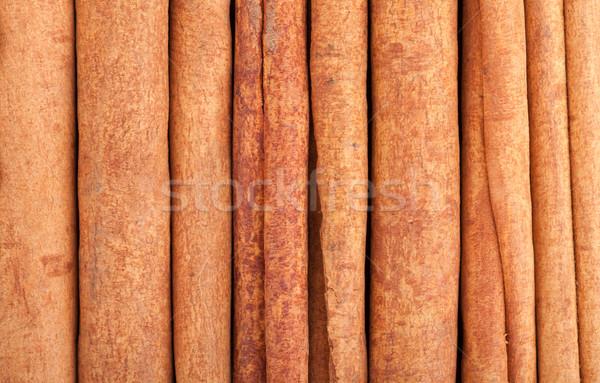 Fahéj közelkép étel textúra fa háttér Stock fotó © karandaev