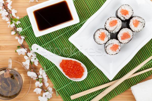 Stockfoto: Rood · kaviaar · sushi · ingesteld · sakura · tak