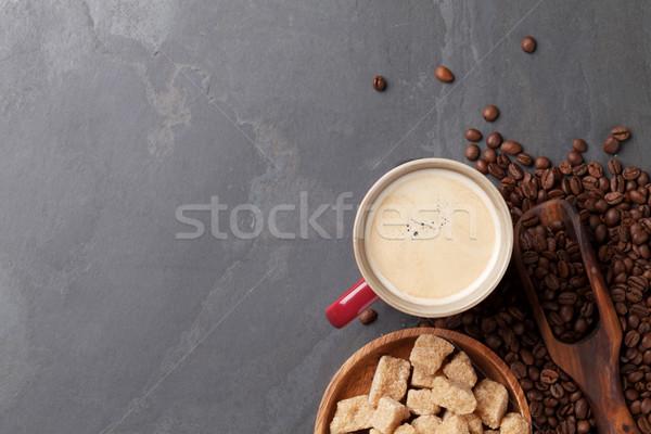 Kahve fincanı fasulye esmer şeker taş tablo üst Stok fotoğraf © karandaev