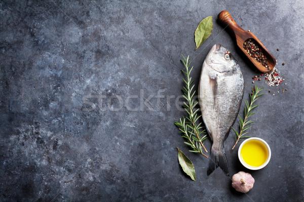 Raw fish cooking ingredients Stock photo © karandaev