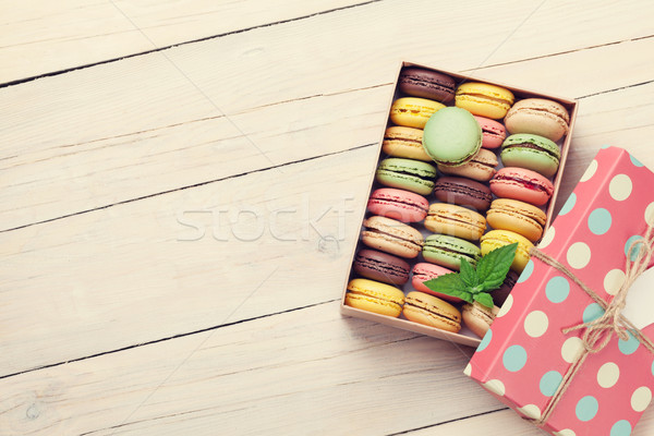 Stock photo: Colorful macaroons in a gift box