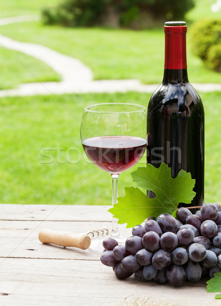 Red wine and grape Stock photo © karandaev