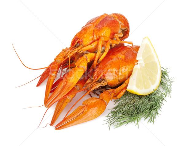 Boiled crayfishes with lemon slice and dill Stock photo © karandaev