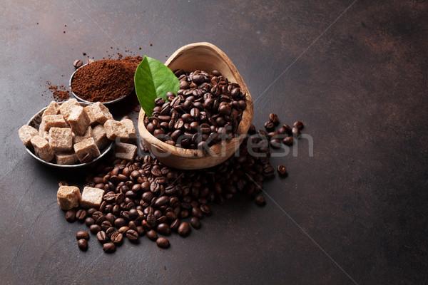 Coffee beans and ground powder Stock photo © karandaev