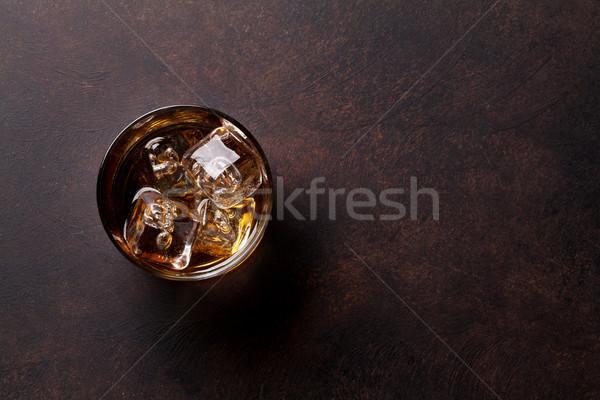 Uísque gelo topo ver cópia espaço vidro Foto stock © karandaev