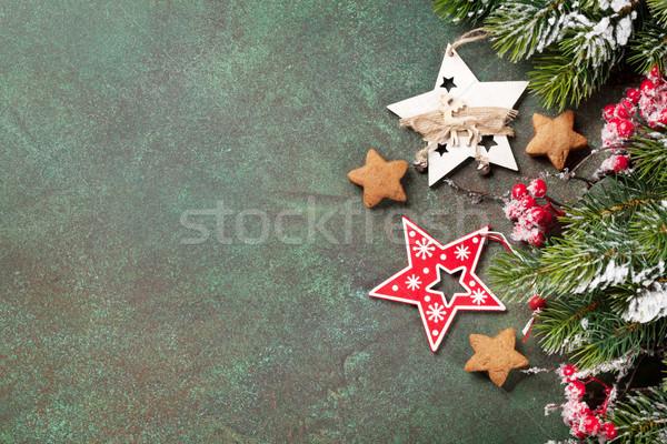 Weihnachten Grußkarte Schnee Dekoration Stock foto © karandaev