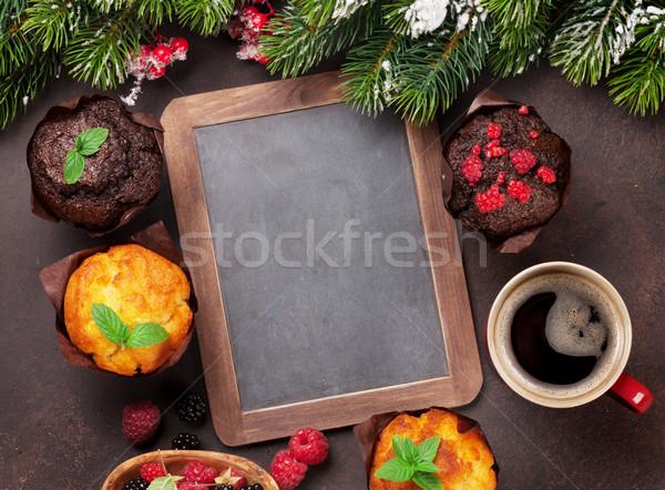 Noel tebrik kartı noel ağaç kahve Stok fotoğraf © karandaev