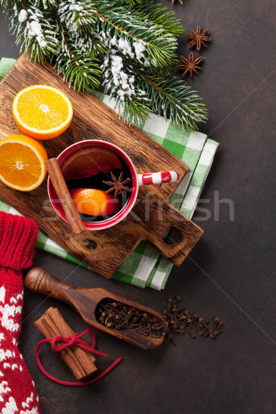 Navidad vino ingredientes superior vista árbol Foto stock © karandaev