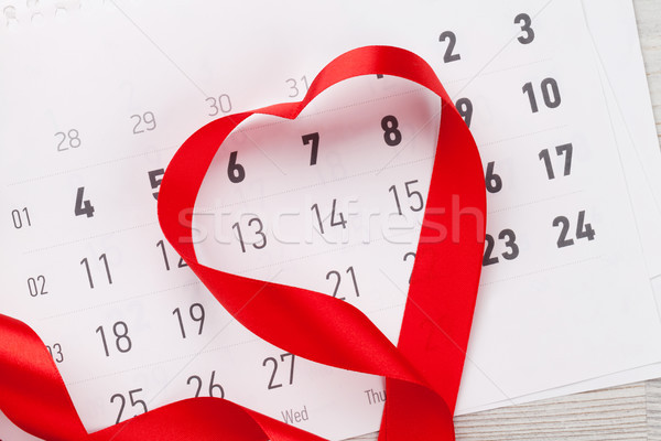 Valentines day greeting card and heart shaped ribbon Stock photo © karandaev