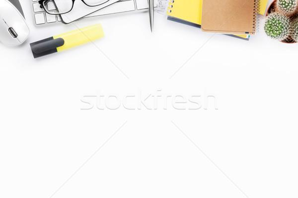 Irodai asztal fehér számítógép készlet felső kilátás Stock fotó © karandaev
