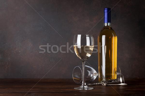 Fehérboros üveg üveg iskolatábla fal copy space étel Stock fotó © karandaev