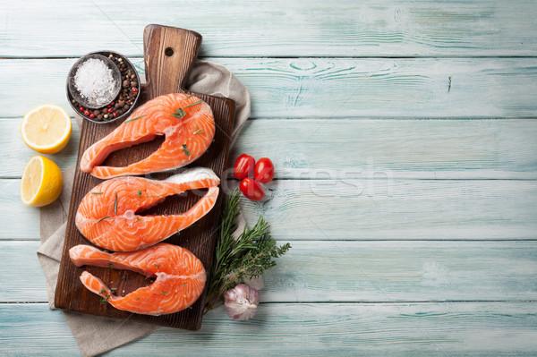 сырой лосося рыбы филе специи приготовления Сток-фото © karandaev