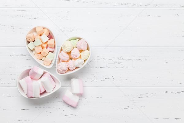 Pastel dulces malvavisco superior vista Foto stock © karandaev