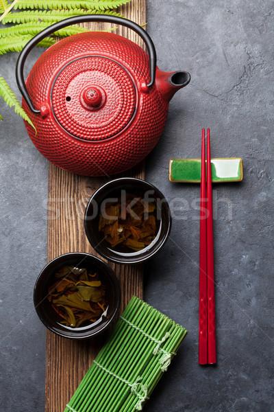 Yeşil çay sushi Çin yemek çubukları ayarlamak üst Stok fotoğraf © karandaev
