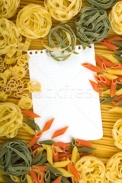 Briefbogen italienisch Pasta unterschiedlich Licht Blatt Stock foto © karandaev