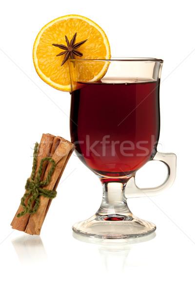 Hot wina pomarańczowy plasterka cynamonu odizolowany biały Zdjęcia stock © karandaev