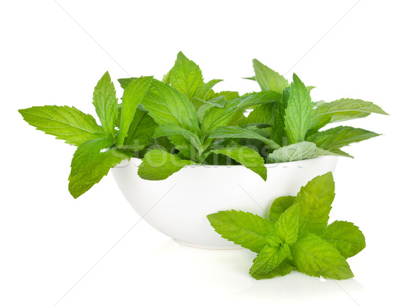 Bowl with fresh mint Stock photo © karandaev