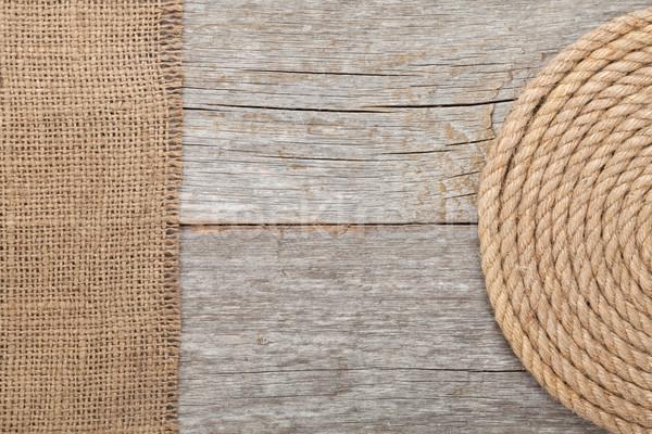 Navire corde bois toile de jute texture mer Photo stock © karandaev