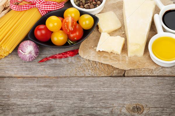 сыр пармезан пасты помидоров уксус оливкового масла травы Сток-фото © karandaev